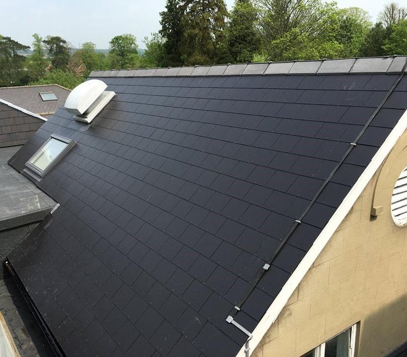 Slate roof, rooflight & vent